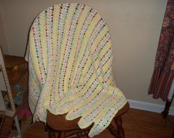 Lemon tulips crochet baby blanket