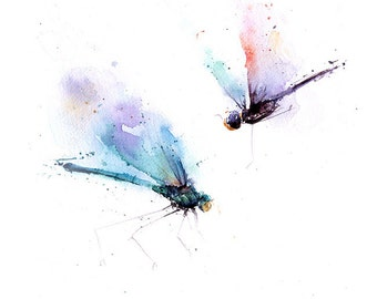 WATERCOLOR DRAGONFLY PAINTING - dragonfly decor, dragonfly art, dragonfly  wall art, insect wall art, original art, watercolor insect