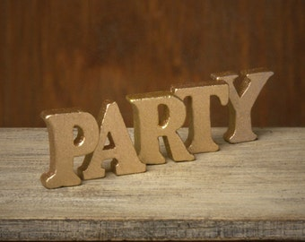 """Golden Miniature Wooden Letters """"PARTY"""" for Your Dollhouse"""