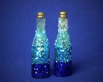 Decorative Miniature Bottle Shades of Turquoise Blue for your Dollhouse