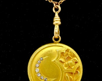 Antique GOLD LOCKET NECKLACE Art Nouveau Gold Filled Diamond Lily Flower Locket Pendant Watch Chain Lariat Necklace