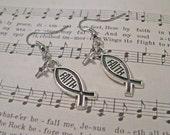 FAITH Christian Icthys Earrings With Tiny Silver Crosses - Christian Faith Jewelry - Custom Orders Welcome
