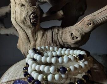 AMETHYST Mala Beads   108 Mala Necklace   108 Mala Beads Japa Mala   Unisex Wood Gemstone Mala, Yoga Meditation Prayer Beads   Mayan Rose