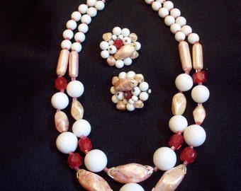 Vintage 50s Bead Necklace and Clip Earring Set Red Pink White
