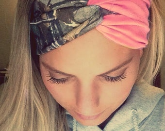 Coral and Camo Turban Style Headband Headwrap