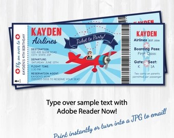 Airplane Party Ticket Invitations - Plane Party Invitations - Plane Birthday Party - EDIT at home NOW with Adobe Reader!!! - Sugar Shebang