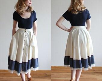 Booth Bay Skirt * 1970s Gunnies by Jessica McClintock skirt * Size 0