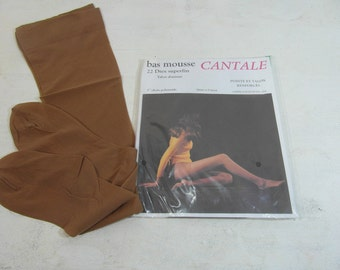 Dead stock panty hose stockings, French vintage lingerie, size 2 / S, 22 den, stocking suspenders, tan colour, never worn, in packet, .