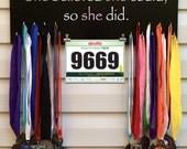 Sports Medal, Medal,Bib or Photo Holder,Hanger,Organizer,Marathon,26.2,13.1, 18 Hooks, Item N4059,She believed she could