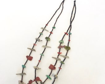 Vintage Native American Fetish Necklace, Two Strands