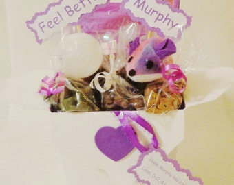 Get Well Cat gift basket, cat toys, cat treats, sick pet gift, personalized cat gift, cat nip, new cat gift, new kitten gift