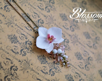 White orchid pendant, Phalaenopsis  pendant, Orchid wedding accessories, white orchid flower, fimo flower