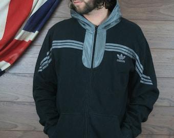 vintage adidas hooded sweatshirt , black ,xl, (2)