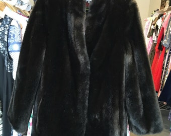 Stunning French Vintage Faux Fur Brown Bombshell Coat / Glam / Rock / Retro / Winter Coat / Small Medium