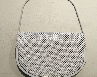 Lovely Vintage 70s White and Silver Mesh Evening Purse