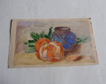 vintage original watercolor painting, still life