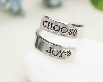 Choose Joy, Handstamped Ring, Adjustable Aluminum Wrap Ring, Hand Stamped Ring, Inspirational Jewelry, Affirmation, Mantra, Love Life