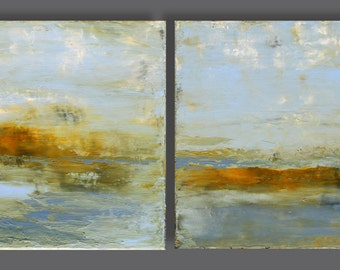 Seascape3 diptych acrylic painting with palette knife each 11.8 inch x 11.8 inch,original still life