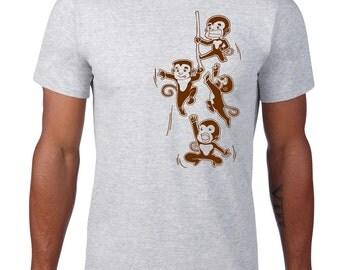Funny Monkey Tshirt, Playful Monkey T Shirt, Cheeky Monkey Tee, Funny TShirt, Zoo, Safari Animal Tshirt, Ringspun Cotton, Mens Plus Size