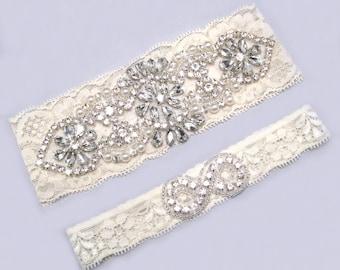Wedding Garter Bridal Set Infinity Symbol Crystal Rhinestone Garters Off White Or