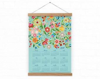 2017 Wall calendar  - FolkFlora- Blue - A3, A3+