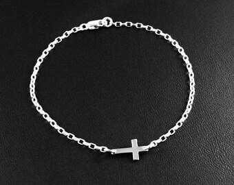 Sterling Silver Sideways Cross Bracelet, Silver Sideways Cross Bracelet, Silver Cross Bracelet, Sterling Silver Tiny Cross Bracelet