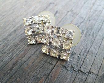 Square Rhinestone Earrings, Clear Rhinestone Earrings, Large Rhinestone Earrings, Wedding Earrings, Bridal Jewelry, Geometric Earrings