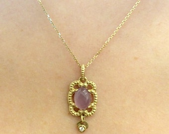"14k Yellow Gold Lilac Chalcedony 16"" Necklace"