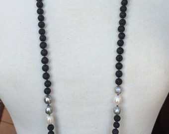 Black Lava Rock Double and Triple Wrap Around Necklace with Gray and White Freshwater Pearls