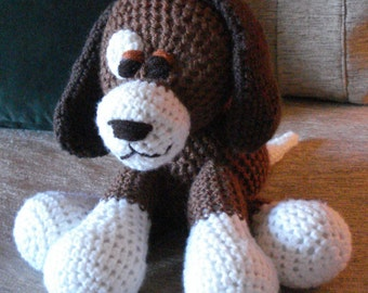 "Crocheted  puppy dog stuffed animal doll toy ""Duffy"""