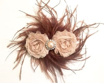 Beige Shabby Chocolate Feather Fascinator. Flower Feather Hair Bow Clips.Fancy Girl Boutique Custom Designs. Bridal Hair Pieces.