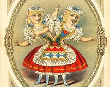 "Freak Show Poster : ""Egyptian Hall - The Pygopagi Twins"" (c1880) - Giclee Fine Art Print"