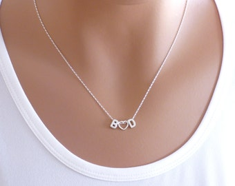 Couple initials Necklace ,100% Sterling Silver Initial Necklace ,Two Initial Necklace with open heart in the middle, Open Heart Necklace.