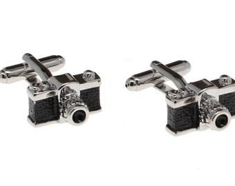 Silver and Black Classic Camera Cuff Links
