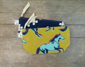 Horses Linen Canvas Cosmetic Bag, Bridesmaid Gift, Holiday Gift, Neon Horses Canvas Pouch, Pencil Case, Mustard Canvas Bag, Travel Bag
