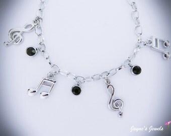 Music Note Charm Bracelet, Quaver, Semiquaver, Black drops, music bracelet for girls who LOVE music