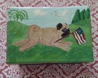 Hand painted Patriotic Pug Trinket Box
