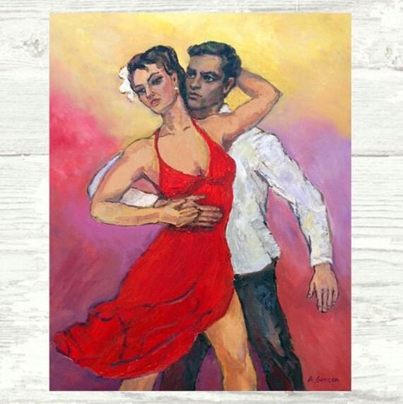 Salsa Passion Matted PRINT 8x10 Salsa Art. Salsa dancing Art, Sexy Salsa Couple