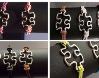 Autism jigsaw puzzle piece unisex bracelet leather or suede autistic ASD Aspergers awareness bracelet gift for him her handmade uk