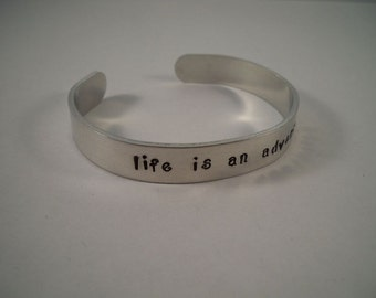 Life is an Adventure Aluminum Cuff Bracelet