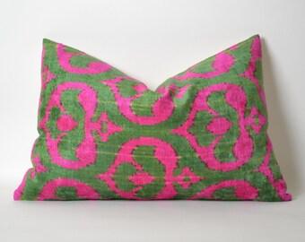 Pink Velvet Ikat Pillow Cover - Neon Pink Green Modern Soft Decorative Velvet Ikat Pillow For Couch - Neon Pink Pillow Pink Green Pillow