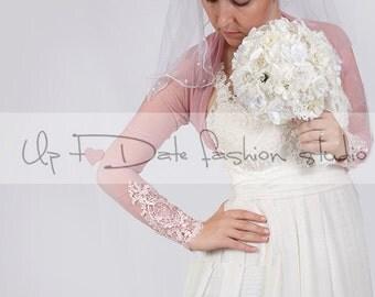 Bridal   tulle  blush pink  jacket /bolero/ long sleeves wedding bolero/cover up