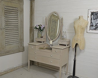 Antique Victorian Grey Dressing Table on Castors - FREE UK DELIVERY