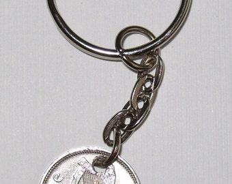 1968 3d Threepence Irish Coin Keyring Key Chain Fob 49th Birthday Hare Harp