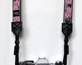 Cherry Blossoms grey  My Funky Camera strap for compact cameras