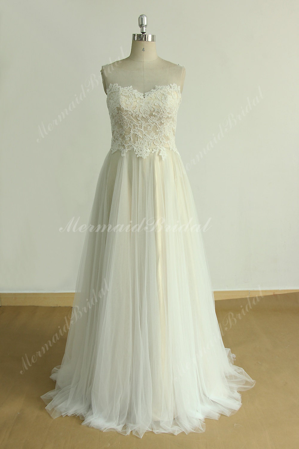 Flowy Tulle Lace Wedding Dress With Illusion Neckline And