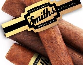 Black & Gold Custom Cigar Bands - Wedding Cigar Labels - Birthday Cigar Bands - Anniversary Gift - Personalized Cigar Bands - Art Deco