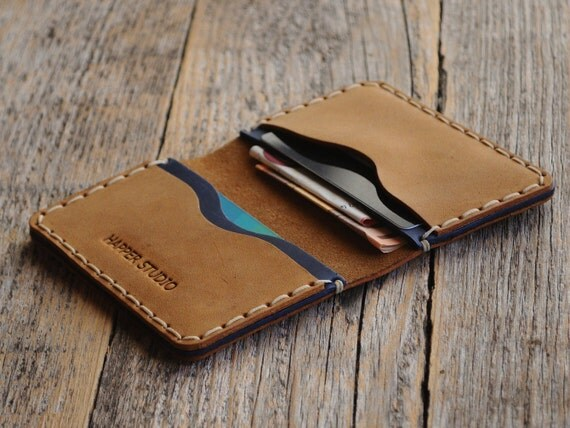 Brown Blue Leather Wallet. Monogram your name! Rustic Style, Unisex Pouch. PERSONALIZED Credit Card Holder. Pockets for Cash or ID.