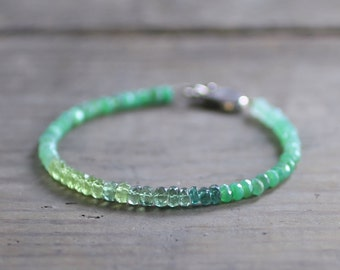 Ombre Green Apatite, Peridot & Chrysoprase Bracelet in Sterling Silver or Gold Filled, Shaded Green Gemstone Crystal Beaded Bracelet