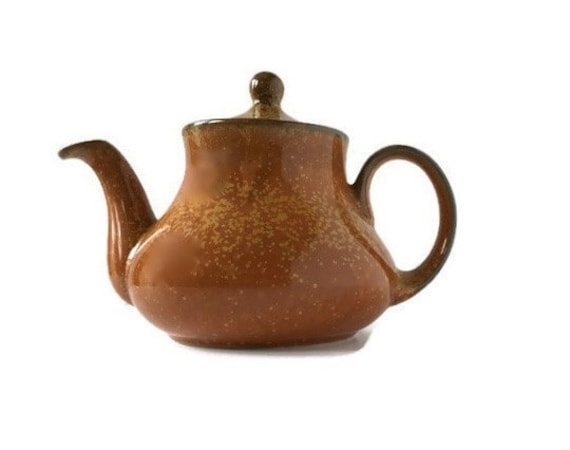 Vintage stoneware teapot tan and caramel splatter design gift for mom